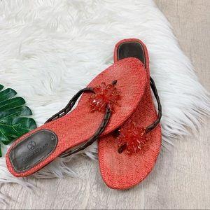 Cole Haan Open Toe Orange Kitten Heel Sandals